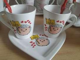 Set de tazas para compartir de porcelana con bandeja