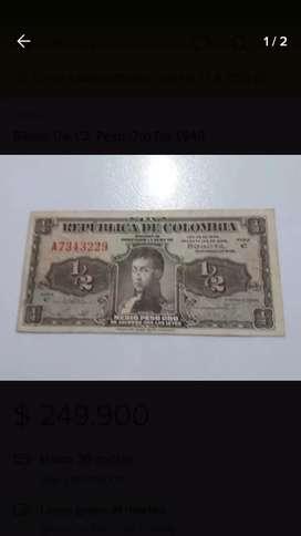 Billete de medio peso de 1948  de Colombia