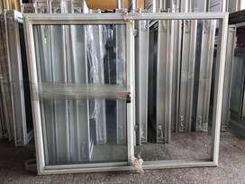 Ventana de aluminio blanco con vidrio 1.20 x 1 m