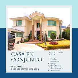 Venta de casa, 280 m2 de construcción  en conjunto residencial exclusivo El Retorno- Ibarra