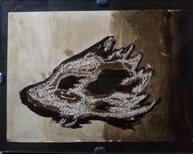 Pintura Nogalina Cuadro Decorativo Lobo