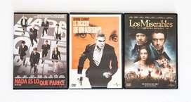 3 Películas Originales en DVD en Excelente Estado. Los Miserables, Nada es lo que parece y El ocaso de un asesino.