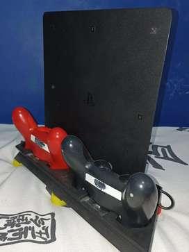 PS4 + base + 2 controles + Diadema Sony + 6 juegos físicos