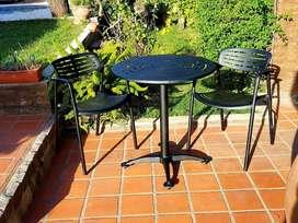 """Juego de Jardin """"Bar """" p/ Balcón Mesa diam.70cm c/2 Sillas Bar Apilable Fundicion de Aluminio"""