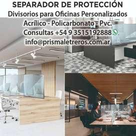Paneles de Protección, Mamparas, Acrílicos, Separadores, Barreras Sanitarias, Asesoramiento, Colocación inmediata.
