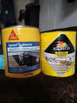 Impermeabilizante y igasol y pintura tráfico amarilla
