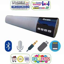 Barra De Sonido Bluetooth Con Pantalla LED, 40cm Parlante 10W, USB, Fm, Sd, Colores, Nuevos, Garantizados