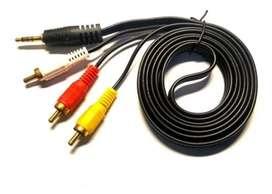Cable 1 jack Mini Plug a 3 Rca Para Tv Audio Vídeo Consola Dvd
