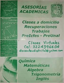 Clases de Química, Bioquímica, Inglés y Matemáticas