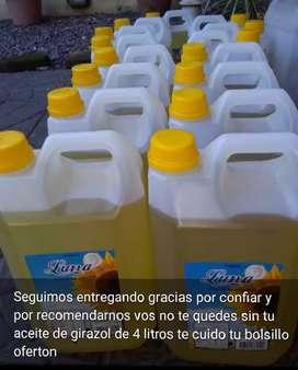 Aceite girazol de 4 litros oferton llevate mas de 15 y lo pagas cada uno a $250