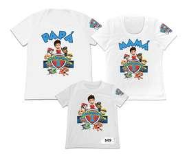 camisetas familiar Set 3 Papa mama hijo Paw patrol