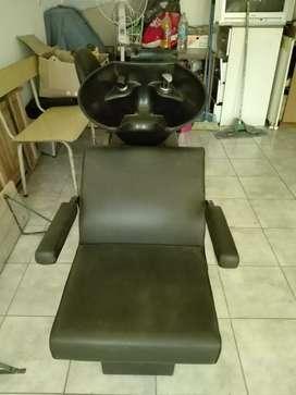 Lavacabezas y sillon de corte nuevo.