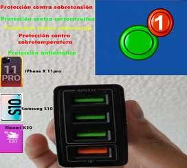 Cargador USB cuatro puertos QC 3,0 5 V 3.1A Compatible  smartphone