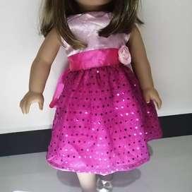 Vestido hermoso  para muñeca American girl de 18 pulgadas, rosado.