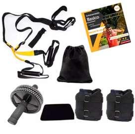 Ultrakit  T-R-X con Anclaje de puerta + guía de ejercicios PDF + rueda abdominal + pesas tobilleras peso graduable