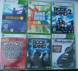 Rockband y guitar hero originales de Xbox 360
