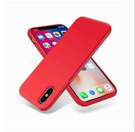 Carcasa de silicona líquida para iPhone X, antirasguños y huellas dactilares - Color: Rojo - Nuevo