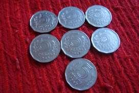 7 Monedas Argentinas De 5 Pesos Antiguas