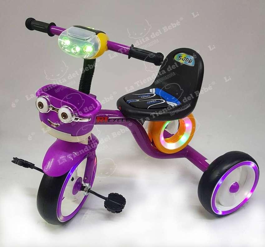 Triciclo Bebe Infantil Musical Con Luces Paseador Oferta Minions Azul