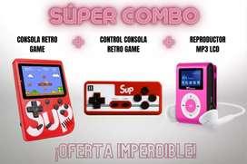 Combo consola retro gamer con control + mp3