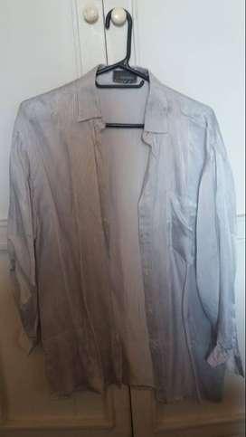 blusa blanca con rayas azules para dama talla L en seda marca stefanel
