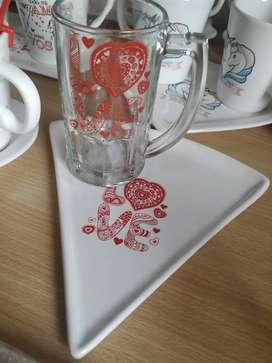 Chopp+ plato de porcelana