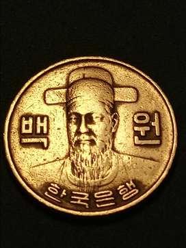 #Moneda korea South 100 Won 1973