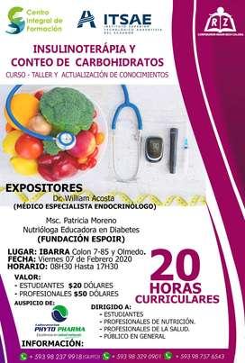 CURSO TALLER Y ACTUALIZACIÓN DE CONOCIMIENTOS EN INSULINOTERAPIA Y CONTEO DE CARBOHIDRATOS NUTRICIÓN