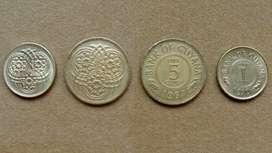 Monedas de 1 y 5 cents Guyana años 1967 1970