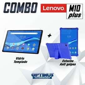 Kit Vidrio Templado Y Estuche Protector De Goma Antigolpes Con Soporte Tablet Lenovo M10 Plus Tb-X606f