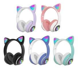 Audifonos Diadema Bluetooth  Fm Micro Orejas  De Gato Y Luces