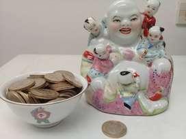Buda vintage de la abundancia con 5 niños porcelana china vidriada mas tazón de la fortuna gratis