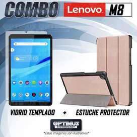 Combo Vidrio Cristal Templado Y Estuche Forro Case Protector para Tablet Lenovo Tab M8 x8505f