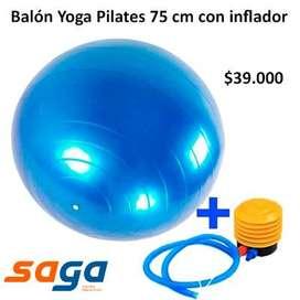 BALÓN PILATES YOGA 75 CM CON INFLADOR.