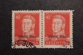 BLOCK 2 ESTAMPILLAS ARG 1954, GRAL SAN MARTÍN SERVICIO OFICIAL, USADAS