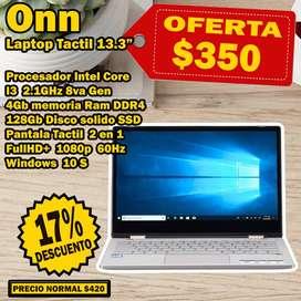 Portatil  Nueva Intel CI3 de 2.1GHz 4GB RAM DDR4 128GB DISCO SSD FullHD Pantalla táctil 13.3 con Win 10 S