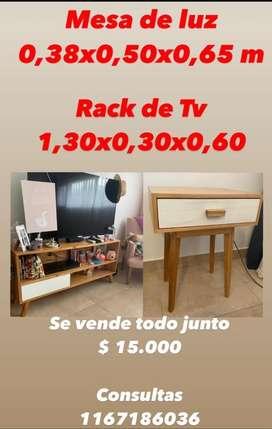 Mesa de luz y rack de TV