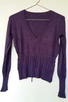 Sweater pullover hilo violeta