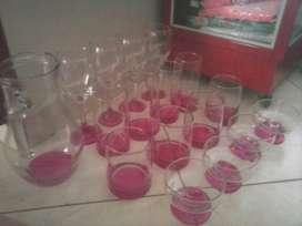Juego de 17 Cristal 4 Vasos grande 4 pequeño 4 copa 4 de postre jarra