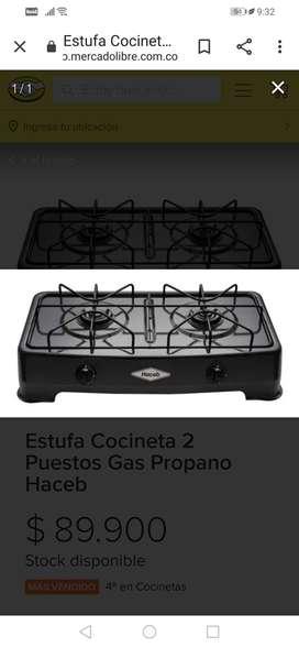 Vendo estufa haceb 1 año de uso color negro, sigue como nueva todo le funciona