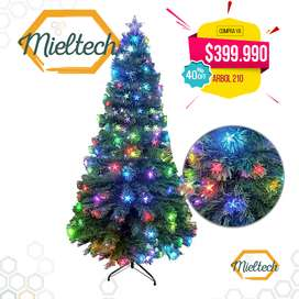 arbol de navidad 210 cm fibra optica