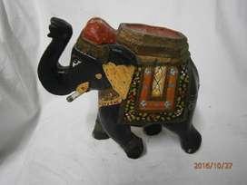 Elefante madera negro india con colores