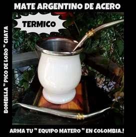 MATE ARGENTINO DE ACERO TERMICO c\ BOMBILLA PICO DE LORO CHATA