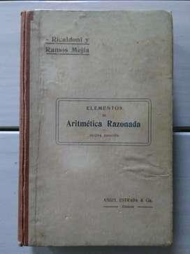 Libro Elementos De Aritmética Razonada Ricaldoni y Ramos Mejía (Ver DESCUENTOS)