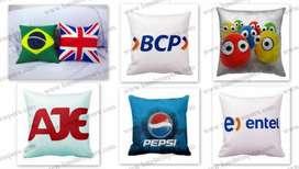 Venta de cojines publicitarios logos full color somos fabricantes