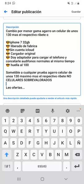 Lea la descripcion iphone 7