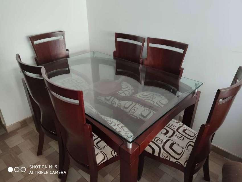 Comedor 6 Puestos Mesa De Vidrio Templado + Sofacama 0