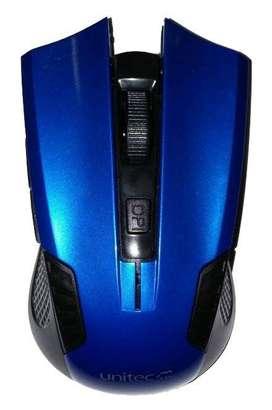 Mouse Inalambrico Unitec W-205 Azul con Negro