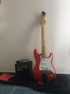 Guitarra electrica, amplificador, afinador, correa y funda