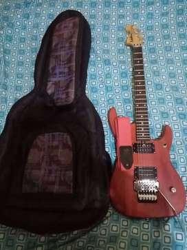 Guitarra eléctrica WashBurn color Rojo + Funda de viaje + Correa Ernie Ball